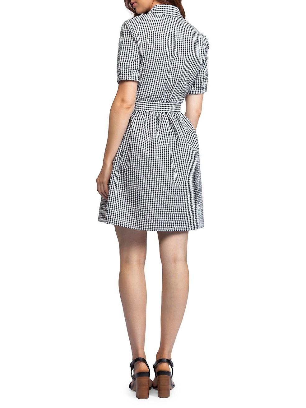 Dex Dex Check Seersucker Button Up Dress