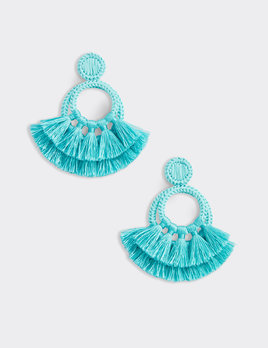 VINEYARD VINES Vineyard Vines Raffia Tassel Hoop Earrings