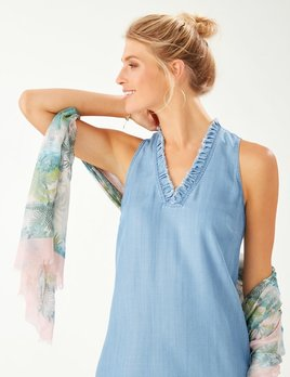 TOMMY BAHAMA NEW Chambray Ruffle Shift Dress