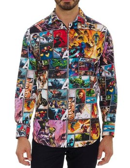 ROBERT GRAHAM Robert Graham Avengers Unite Button Up