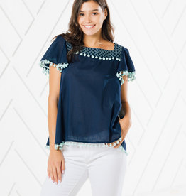 SAIL TO SABLE SHORT SLEEVE POM POM TOP