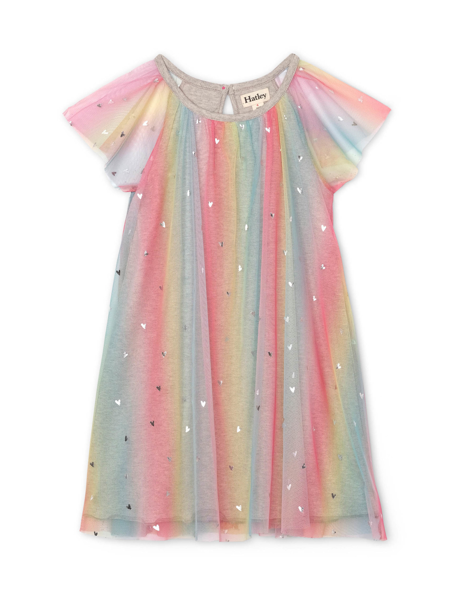 LITTLE BLUE HOUSE (HATLEY) METALLIC HEARTS RAINBOW TULLE DRESS