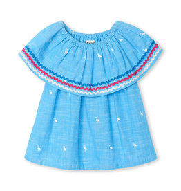 LITTLE BLUE HOUSE (HATLEY) SHOULDER FLOUNCE TOP