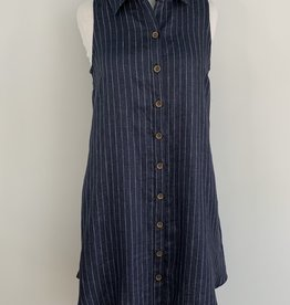 BOHO CHIC SLEEVELESS BUTTON BACK DRESS LINEN