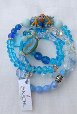 DE LA TERRE BLUE CRYSTAL WRAP FROG BRACELET NECKLACE