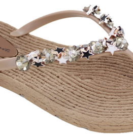 HELENS HEART ESPADRILLE FLIP FLOP WITH CRYSTALS