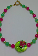 DE LA TERRE FROG BEAD CRYSTAL PINK AND GREEN NECKLACE