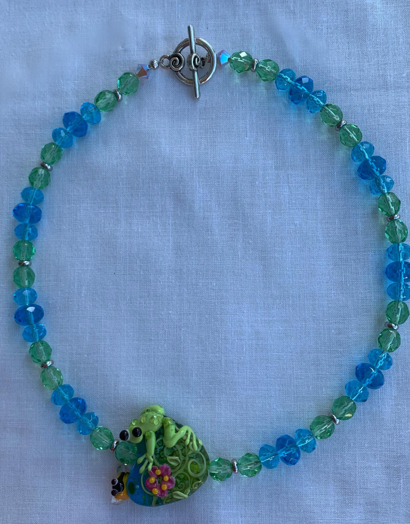 DE LA TERRE FROG BEAD CRYSTAL BLUE AND GREEN NECKLACE