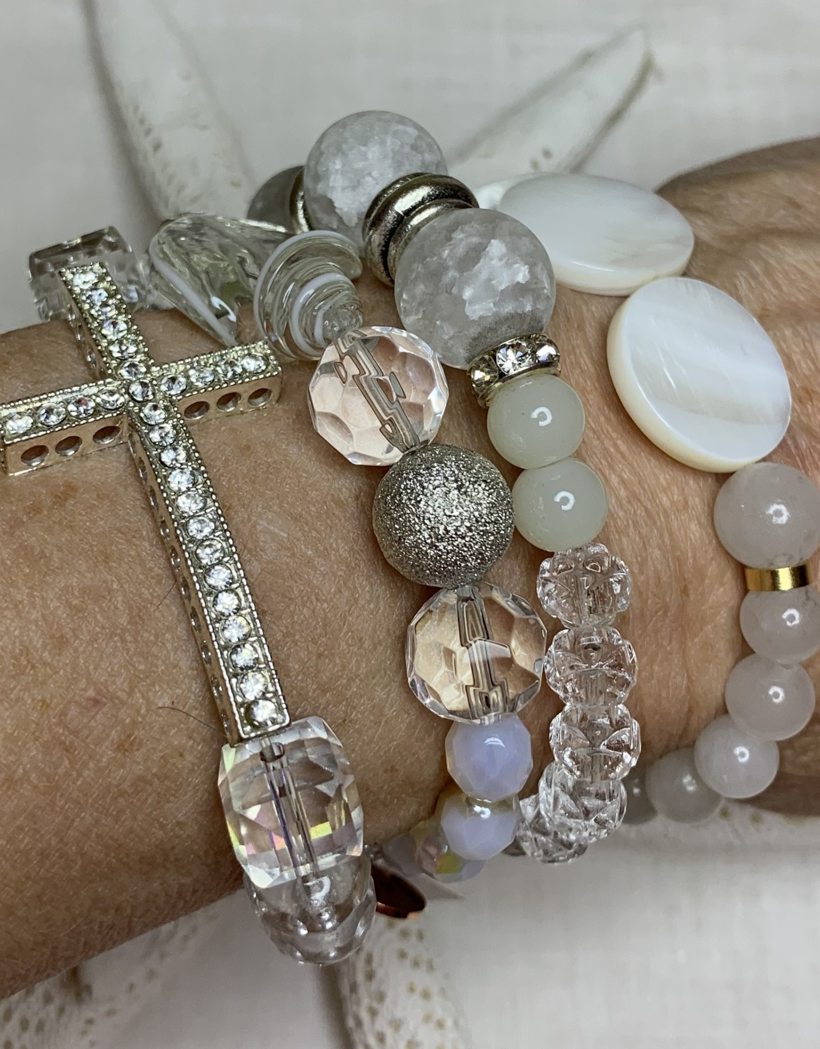 DE LA TERRE PAVE CROSS MOTHER OF PEARL COIN CRYSTAL WRAP