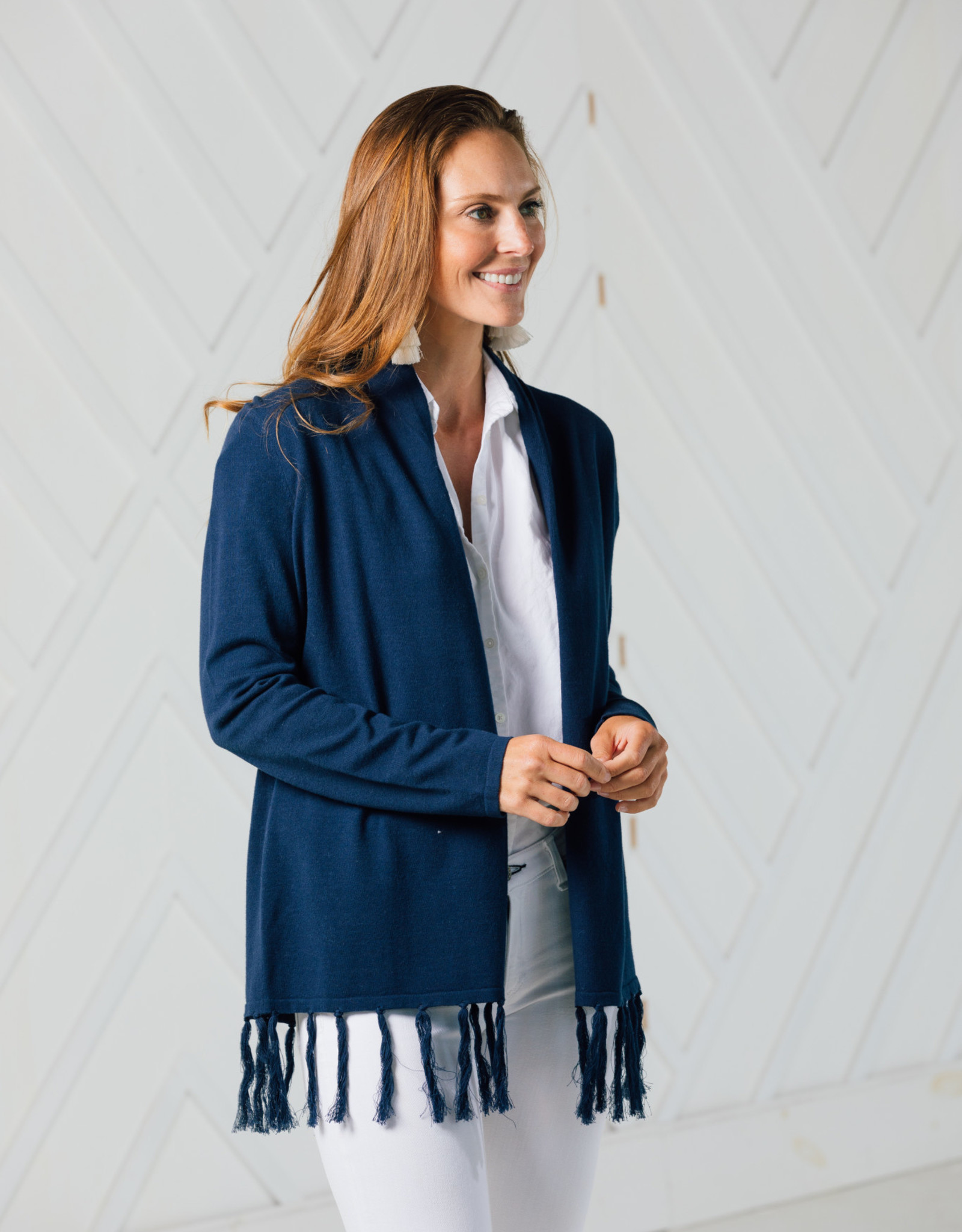 SAIL TO SABLE TASSEL DRAPE FRONT CARDIGAN