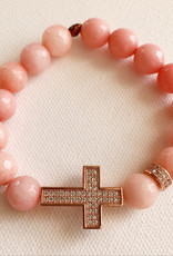 DE LA TERRE ROSE GOLD PAVE CROSS WITH PEACH ROSE AGATE