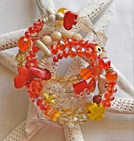 DE LA TERRE CRYSTAL MULTI BEAD WIRE WRAP ORANGE BRACELET