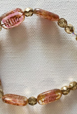 DE LA TERRE PINK CZECH BEAD WITH BRASS TOGGLE