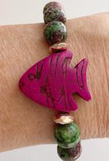 DE LA TERRE CABERNET FISH RUBY ZOISITE BEAD MAGNETIC CLOSE BRACELET