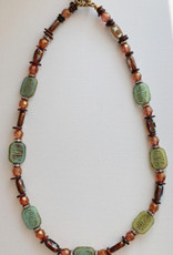 DE LA TERRE CZECH JADE AND AMBER FIRE POLISHED BEAD NECKLACE