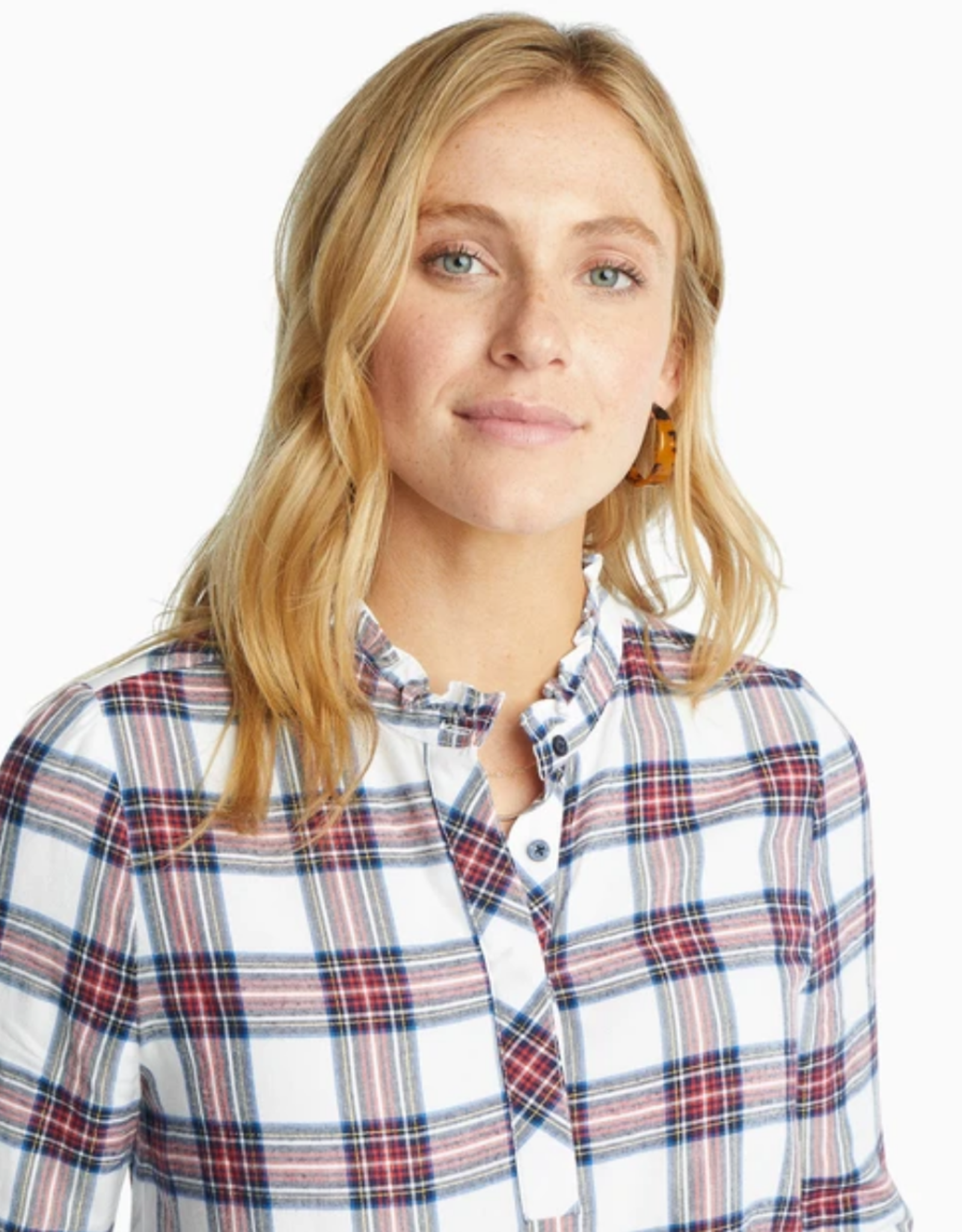 SOUTHERN TIDE LESLIE TOP WINTERTIME PLAID