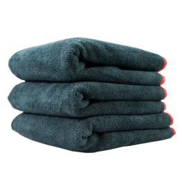 Chemical Guys MIC_508_03-Microfiber Towels 16X16 Heavy Black Towel, With Red Silk Edges - (3pcs/Bag) - 1Unit