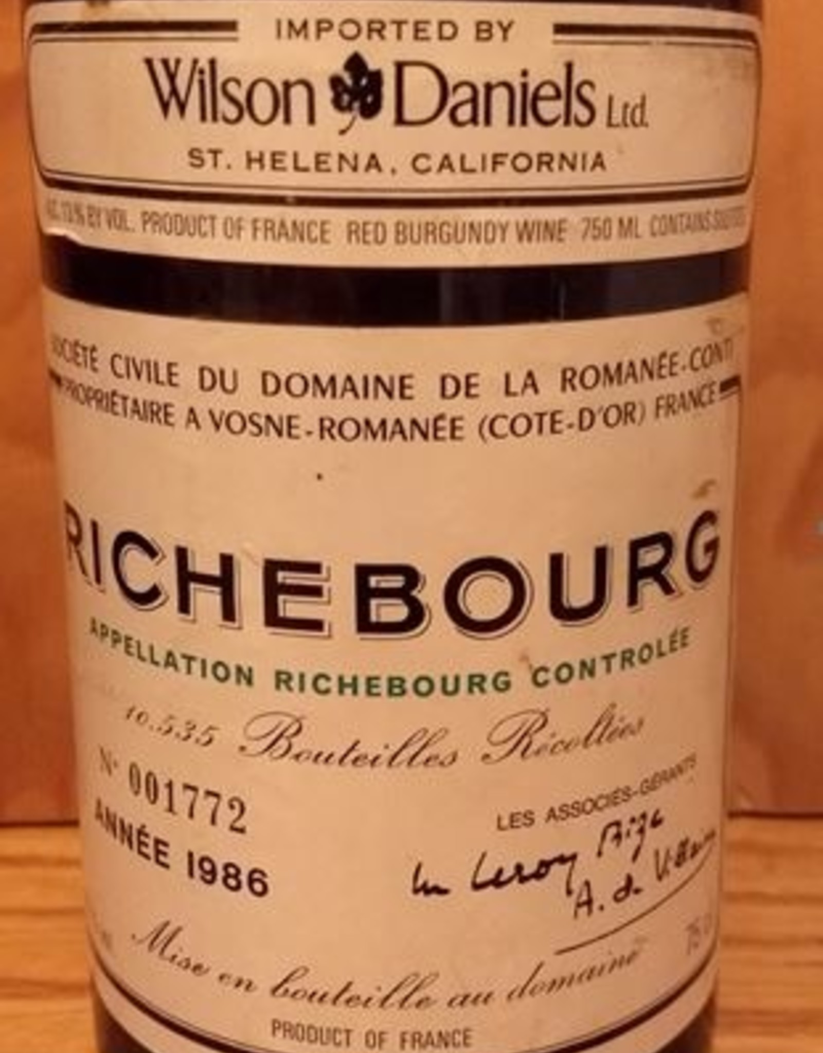 DRC Richebourg 1986 10% Sale