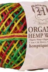 Hemptique Beeswaxed Hemp Wick 100' - Variegated Rasta