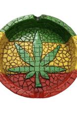Rasta Ashtray w/ Green Leaf