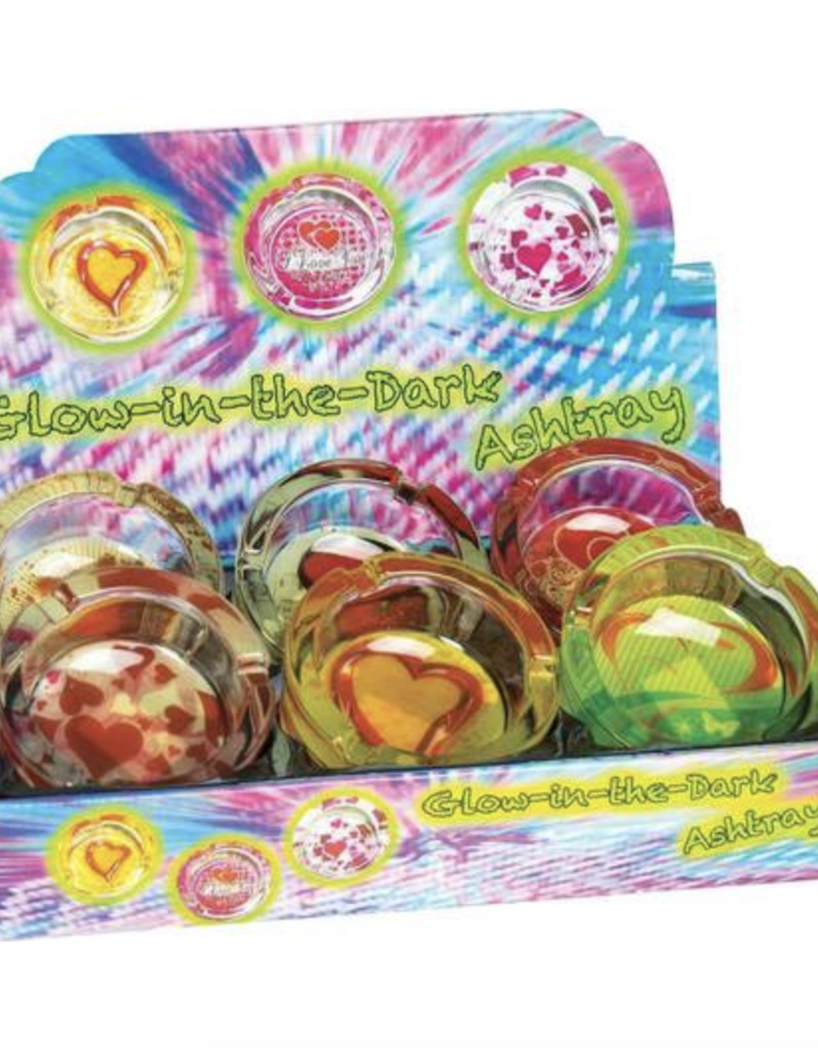 Round Glass Ashtray Assorted Hearts Glow-in-the-Dark Design