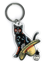 Cali Gato Con Sombrero Metal Keychain