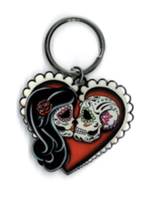 Cali Ashes Red Heart Metal Keychain