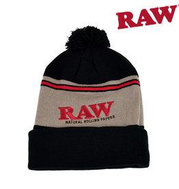 RAW Pompom Toque - Black & Brown