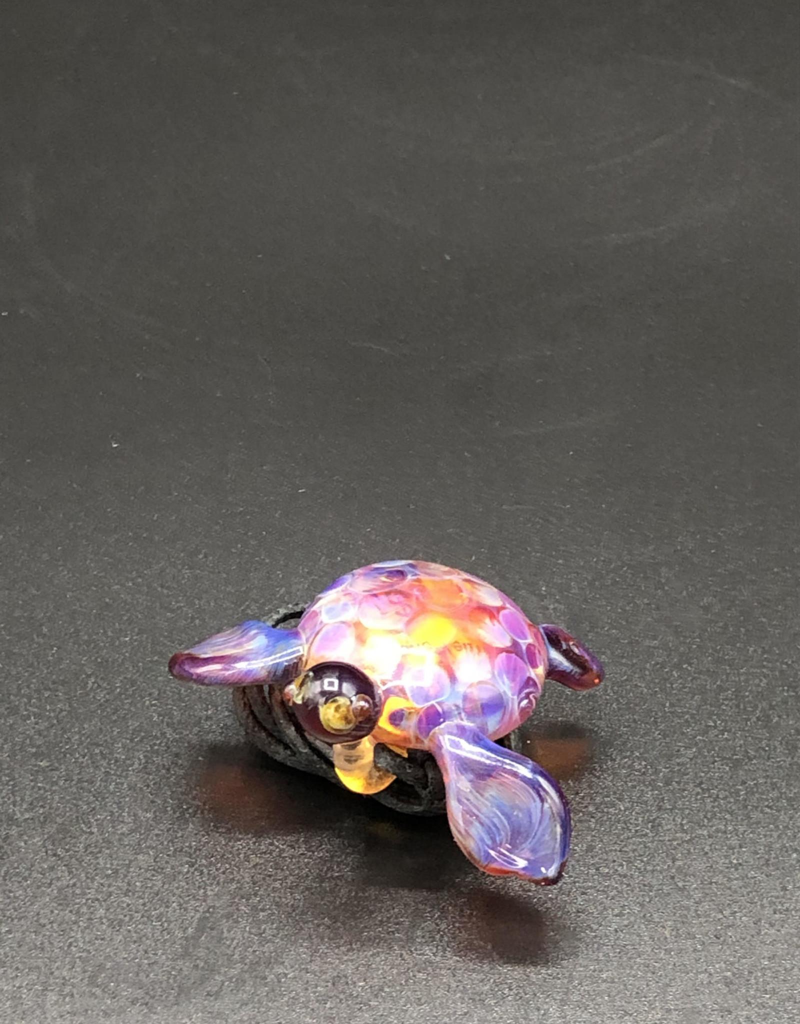 Amber Purple Sea Turtle Pendant by Glasea