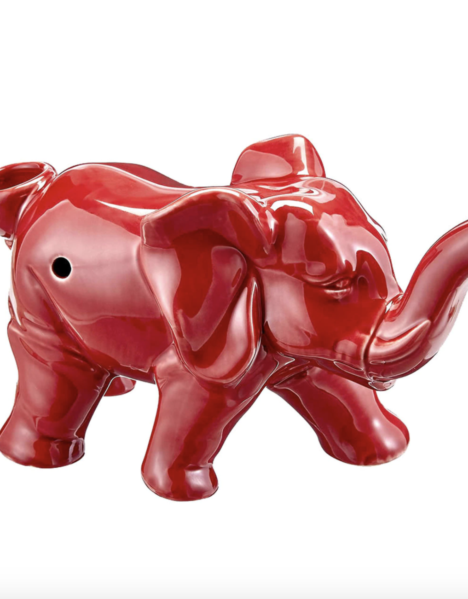 Ceramic Elephant Pipe - Red
