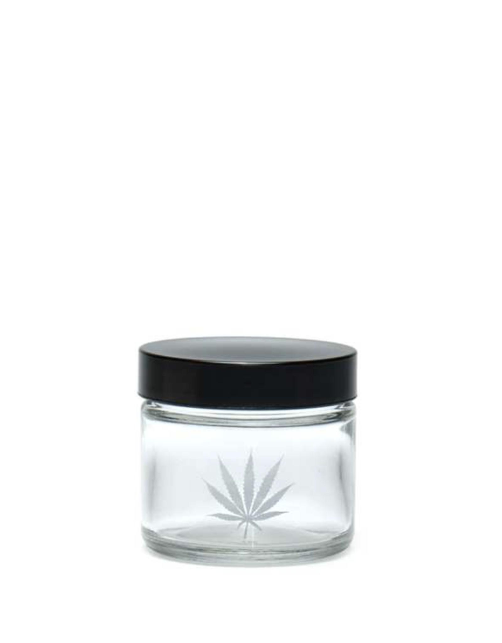 420 Science Clear Screw Top Jar Small - Silver Leaf