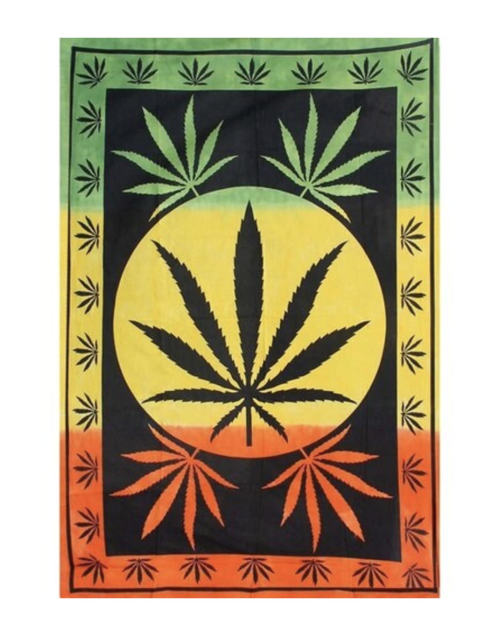 """Rasta Leaf 55"""" x 85"""" Tapestry by ThreadHeads"""