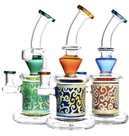 """9"""" Sacred Geometry Etched Rig - Assorted Colours"""