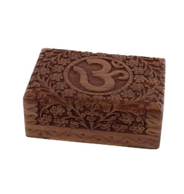 """7"""" x 5"""" Carved Wooden Box – OM"""