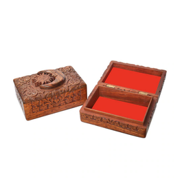 """6.5"""" x 8.25"""" Carved Wooden Box - Sun & Moon"""