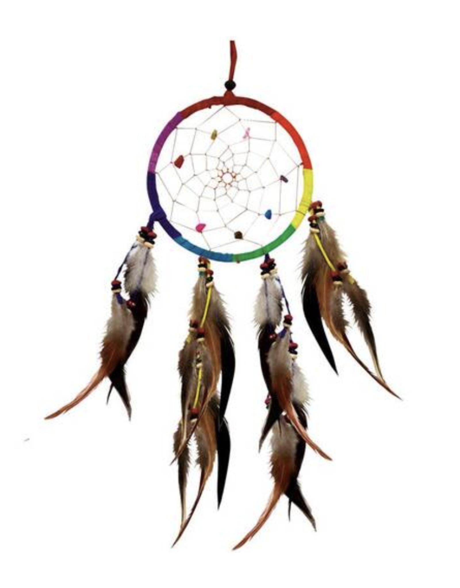 "8.5"" Single Rainbow Dream Catcher w/ Crystals"