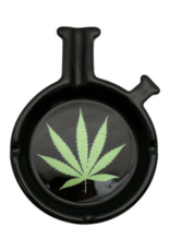 """AT 2861 - 6"""" Classic Waterpipe Shaped Ashtray w/ Green Leaf"""