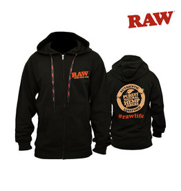 RAW RAW Black Zipper Hoodie