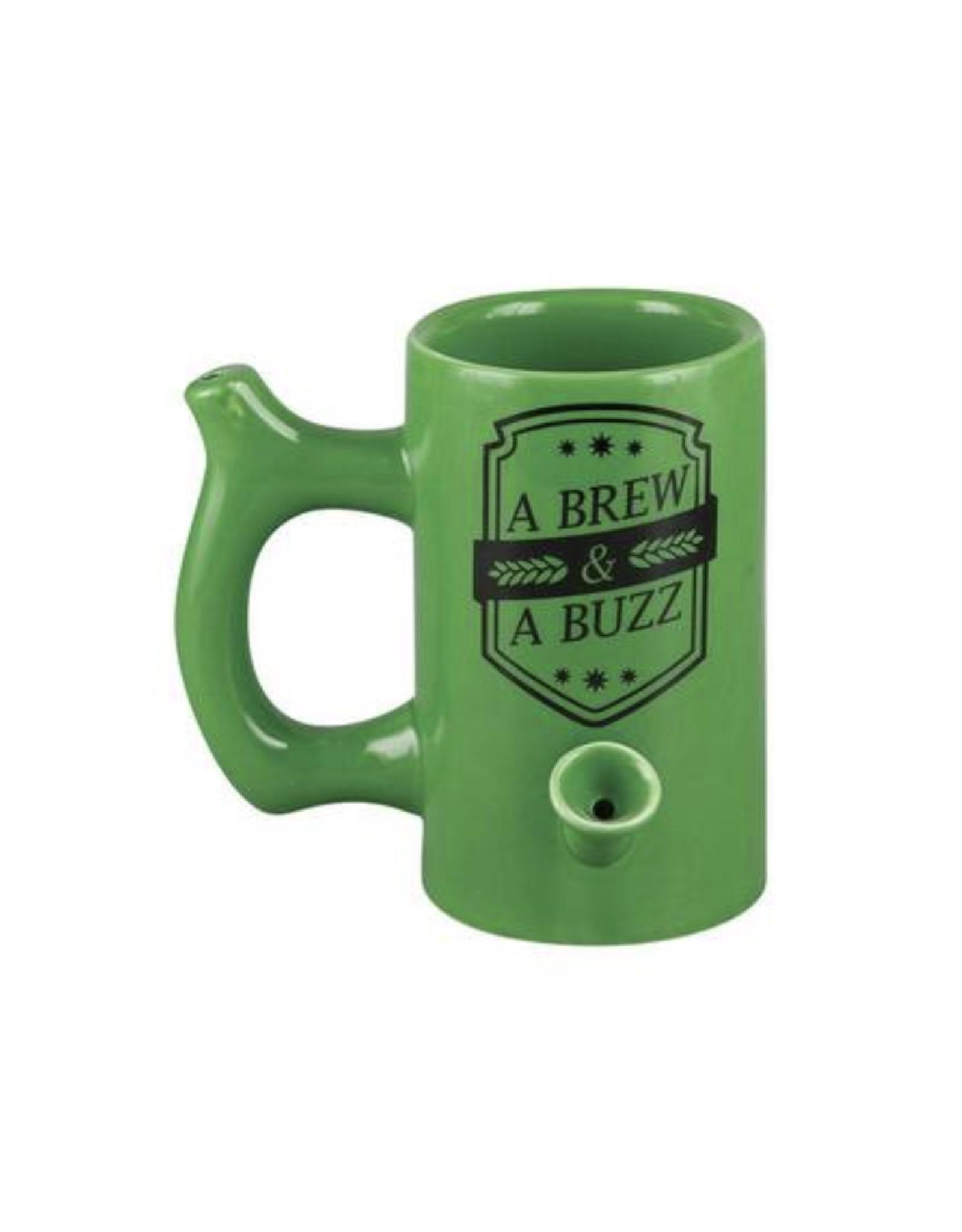A Brew & A Buzz Mug w/ Pipe - Green