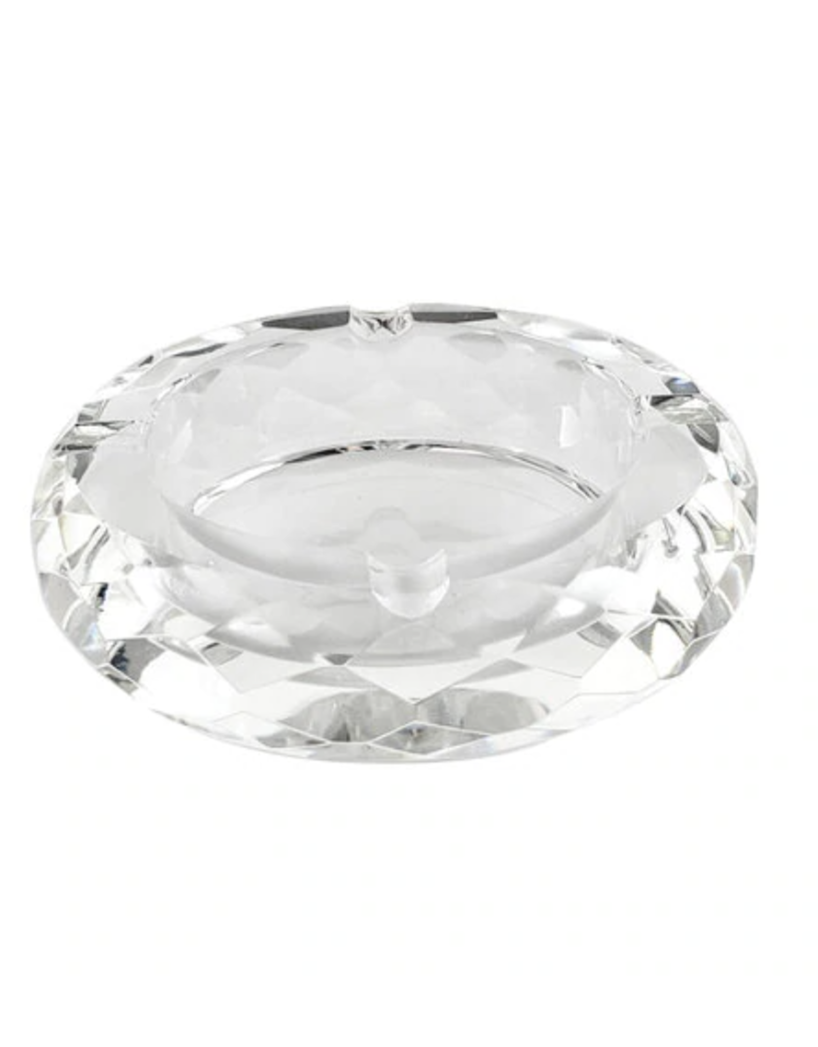 Round Multi Faceted Glass Crystal Ashtray