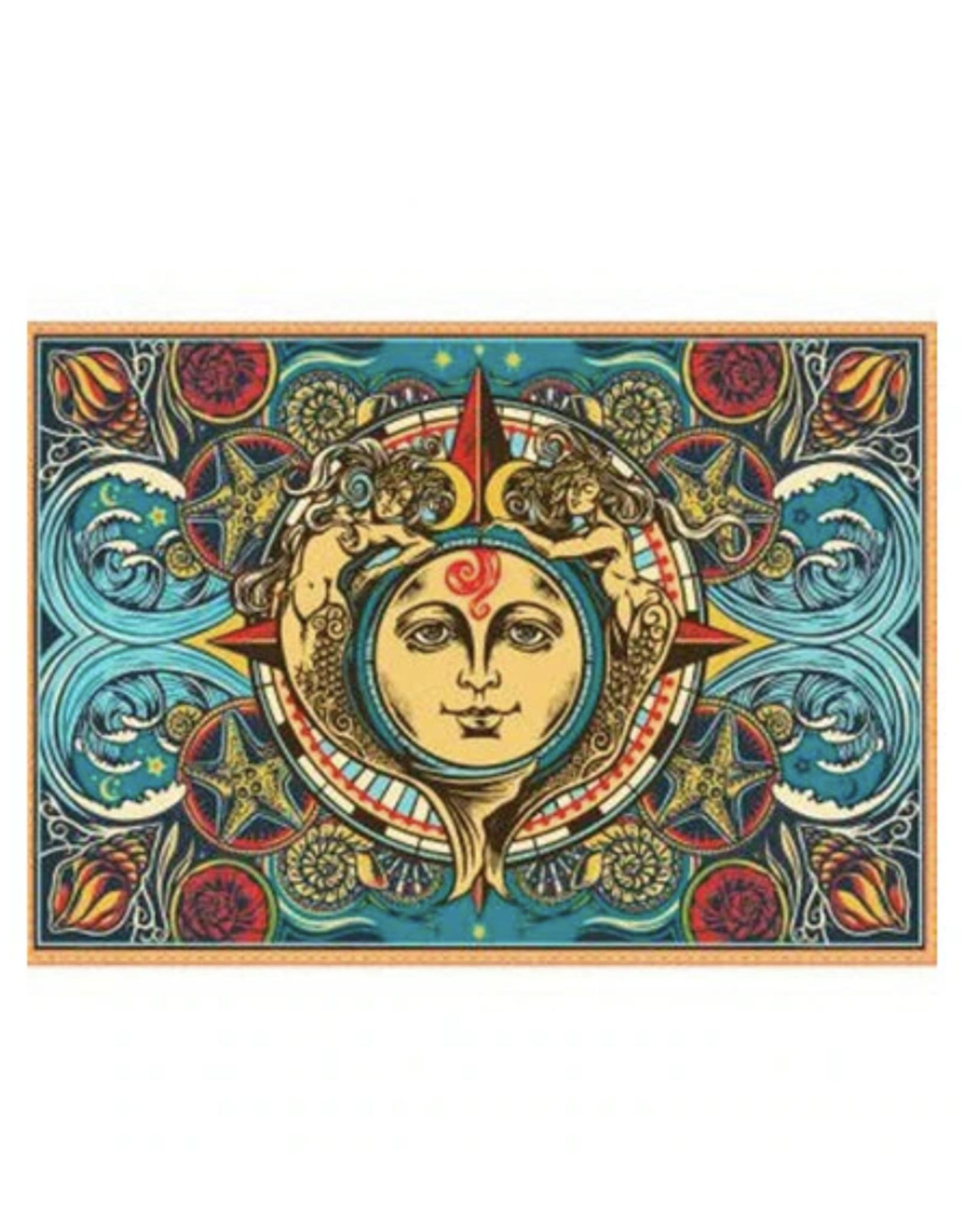 "Mermaid Sun & Moon 3D Tapestry - 60"" x 90"""