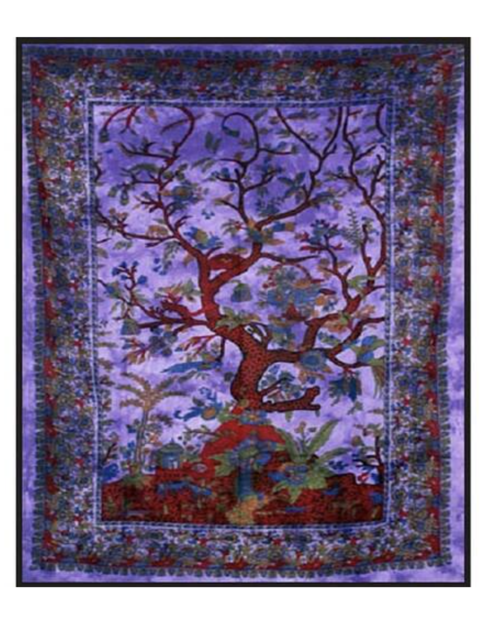 """Purple Tree of Life Double Tapestry - 84"""" x 100"""""""