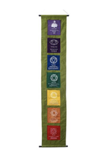 "Seven Chakras on Olive Background Banner - 50"" Long"