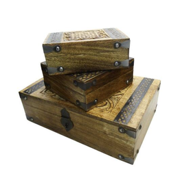 Mango Wood Box w/ Metal Work - Set of 3