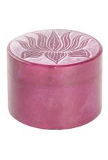"2"" Round Soap Stone Box - Lotus"