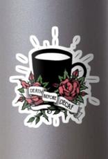 Death Before Decaf w/ Flowers Sticker