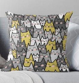 Cat Party Throw Pillow