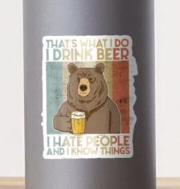 Bear Drink Beer Sticker