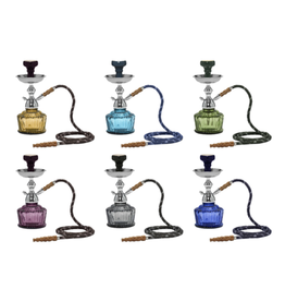 MYA QT 1-Hose Hookah Chrome Set in Wire Basket - Assorted Colours