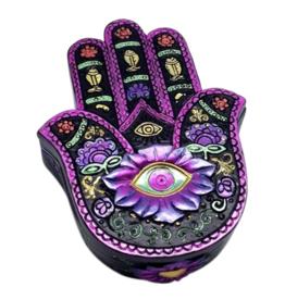 "Purple & Black Hamsa Hand Box - 5"" x 4"" x 1.5"""